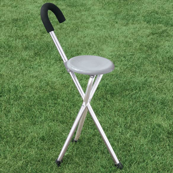 Portable Walking Cane Chair With Fold Down Seat