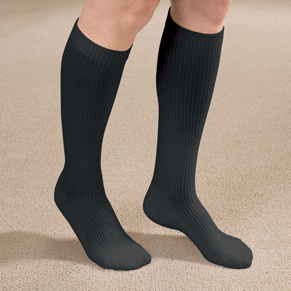 Ribbed Cushion Cotton Compression Socks - View 2