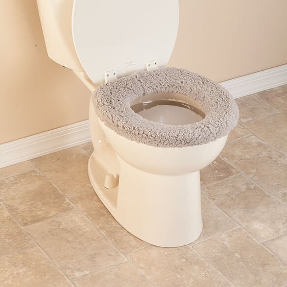 padded toilet seat cover.  Sherpa Toilet Seat Cover By OakRidge View 3 Bathroom Accessories