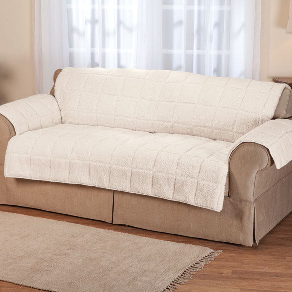 Waterproof Quilted Sherpa Sofa Protector by Oakridge Comforts™ - View 2