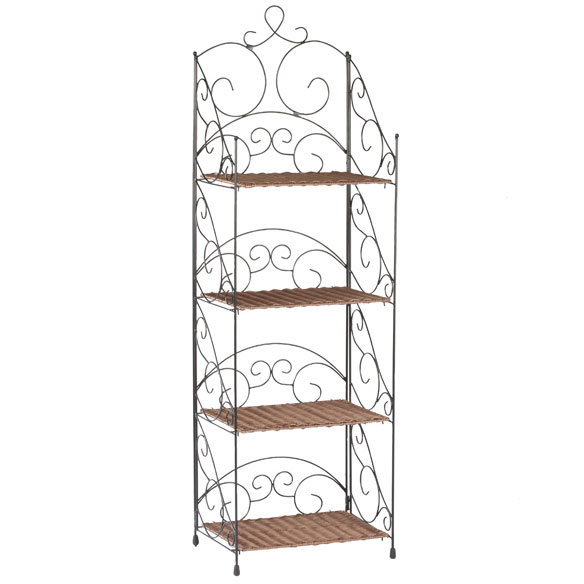 Four Tier Wicker & Metal Shelves by OakRidge™ - View 2