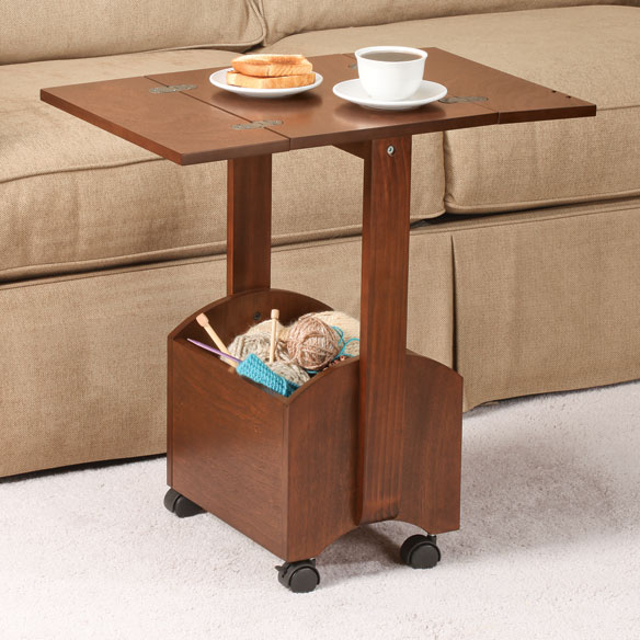 Rolling Coffee Table With Storage: Rolling Folding Side Table By OakRidge Accents