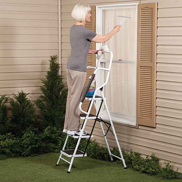 Folding Four Step Ladder with Handrails - View 2