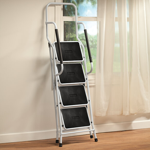 Folding Four Step Ladder with Handrails - View 3