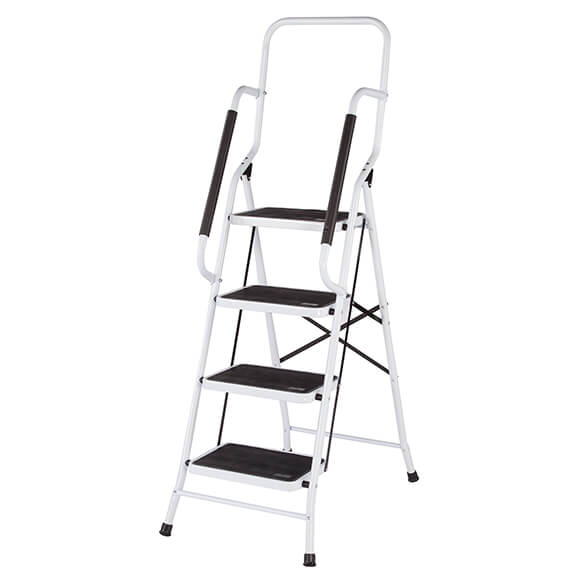 Folding Four Step Ladder with Handrails - View 4