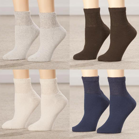 Silver Steps™ 3 Pack Quarter Cut Diabetic Socks - View 3