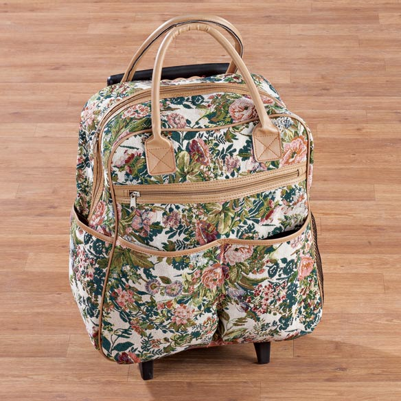Floral Tapestry Rolling Tote - View 3