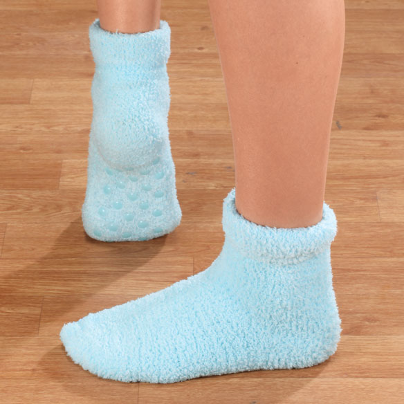 Fluffy Chenille Socks with Grippers, 2 Pairs - View 4