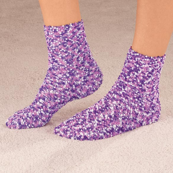 Popcorn and Chenille Luxury Socks, 2 Pairs - View 5
