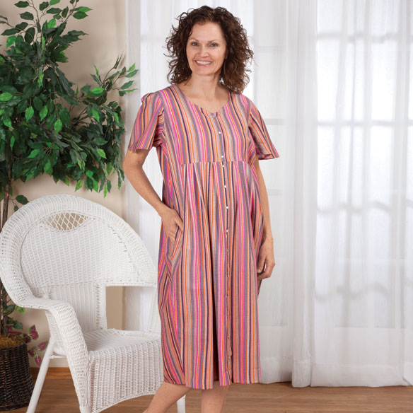 Square Yoke Snap Front Mid-Length Dress - View 3