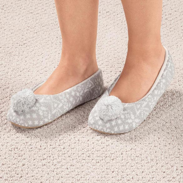 Nordic Style Ballet Slippers with Pom Pom - View 4