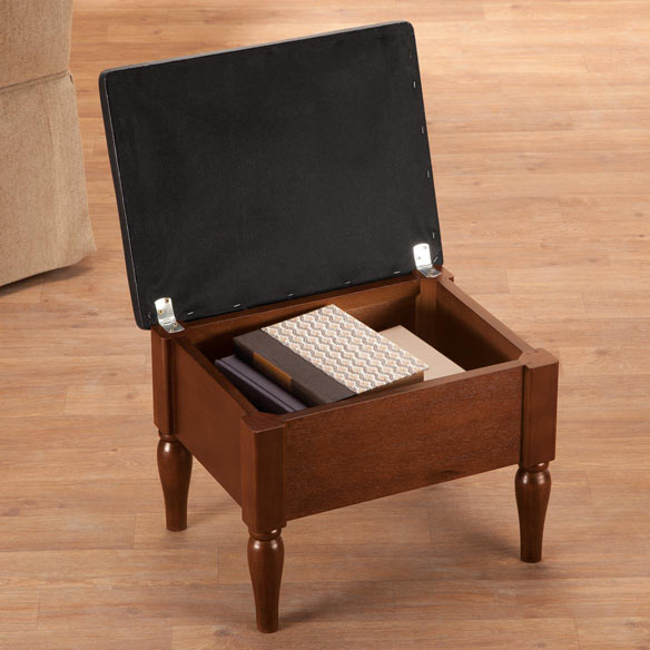 Faux Leather Wooden Foot Rest with Storage by OakRidge™ - View 3