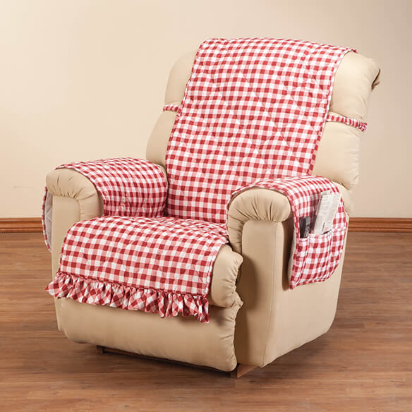 Gingham Recliner Protector with Straps & Pockets - View 3