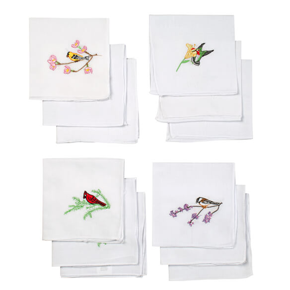 Bird Embroidered Hankies Set of 12 - View 2