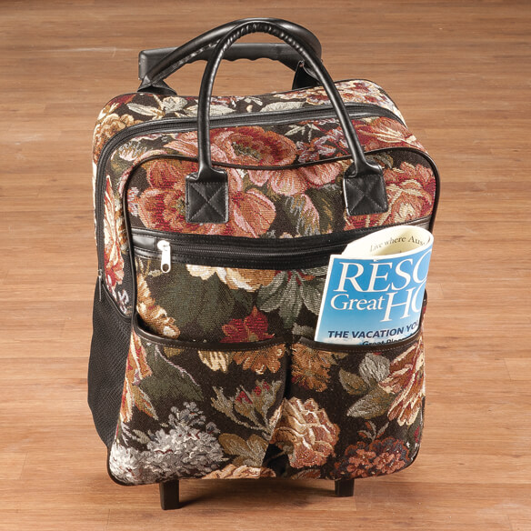 Rose Tapestry Rolling Tote - View 2