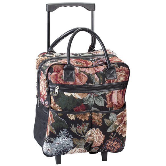 Rose Tapestry Rolling Tote - View 4