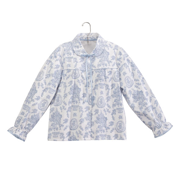 Blue and White Patterned Bed Jacket - View 2