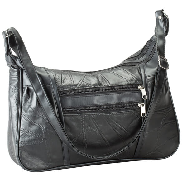 Black Patch Leather Handbag - View 2