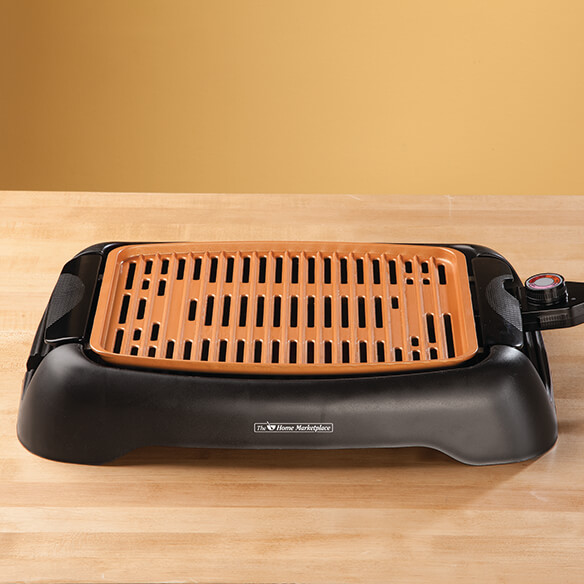 "NonStick Ceramic Copper 13"" Countertop Electric Grill by HMP - View 2"