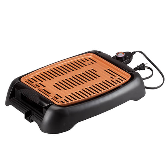 "NonStick Ceramic Copper 13"" Countertop Electric Grill by HMP - View 3"