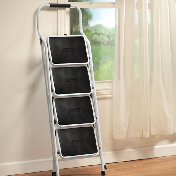 Folding Four-Step Ladder by LivingSURE™ - View 3