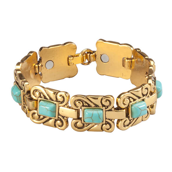 Goldtone Magnetic Turquoise Bracelet - View 2