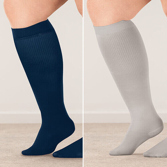 Healthy Steps™ Wide Calf Compression Socks 8-15 mmHg, 3 Pair - View 3