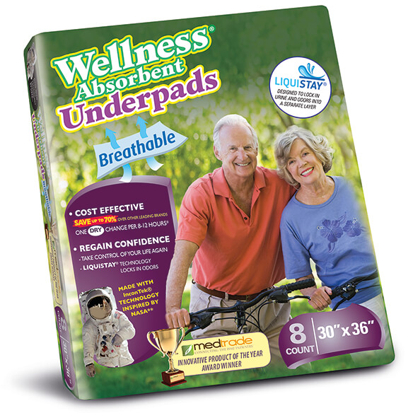 Wellness® Absorbent BREATHABLE Underpad 30x36 Pack of 8 - View 4