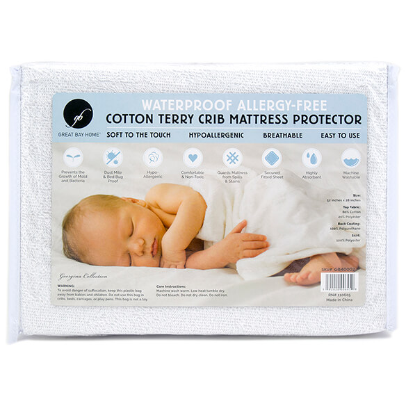Cotton Terry Crib Mattress Protector - View 2
