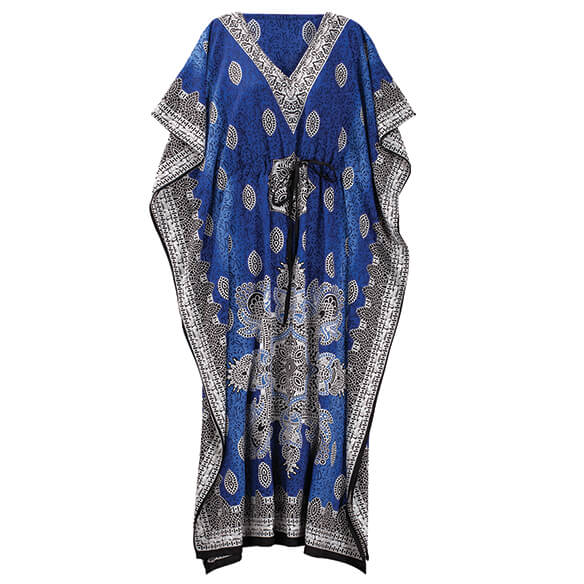 Blue Mosaic Drawstring Caftan - View 2