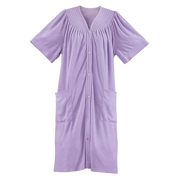 Short Sleeve Terry Snap Robe - View 2