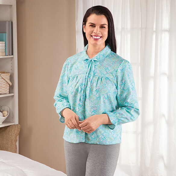 Flannel Floral Bed Jacket - View 2