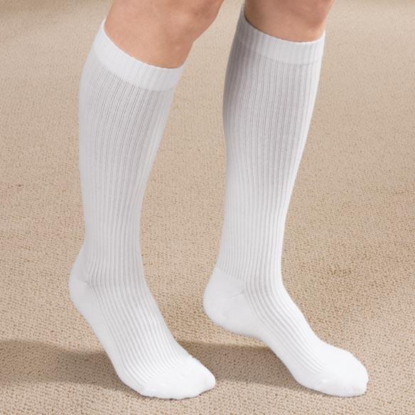 Ribbed Cushion Cotton Compression Socks - View 1