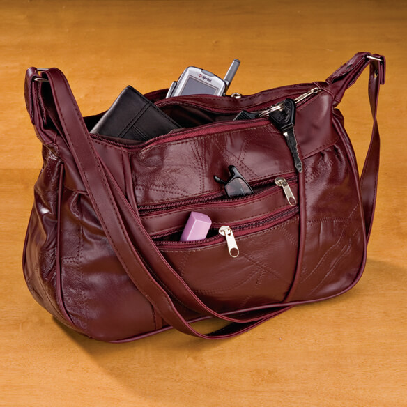 Burgundy Patch Leather Handbag - View 1