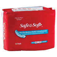 Incontinence - Safe & Soft® Absorbent Bladder Control Pads - Ultra Absorbency