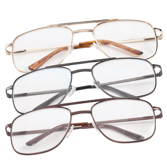 Spring Hinge Pilot Reading Glasses - 3 Pack - View 1