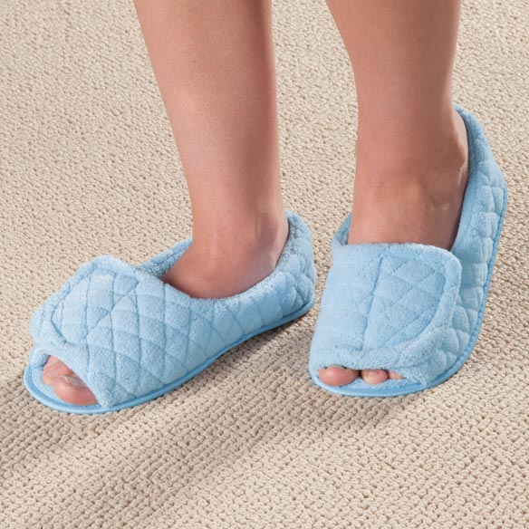 Open Toe Chenille Slippers - View 1