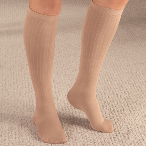 Ribbed Compression Socks - 15–20 mmHg