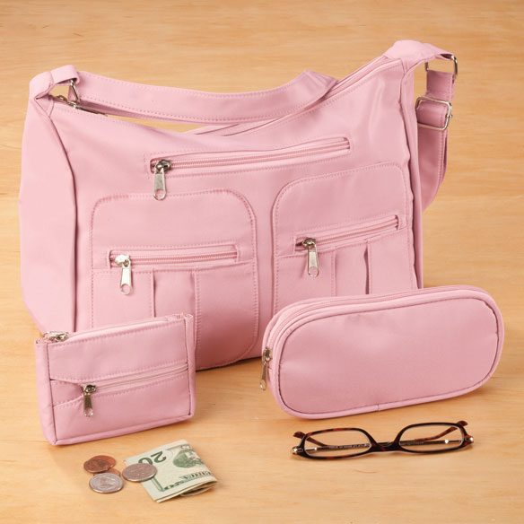 Microfiber 3-Piece Handbag Set