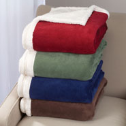 Bedding & Accessories - Ultra Plush Microfiber Sherpa Throw by OakRidge™ Comforts
