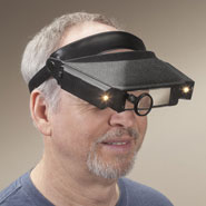 Reading Aids - Lighted Head Visor Magnifier