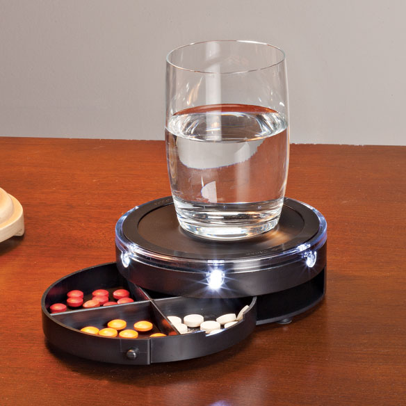LED Nightstand Caddy with Pill Storage