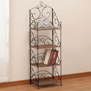 Four Tier Wicker & Metal Shelves by OakRidge Accents™