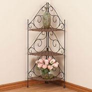 Furniture - Three Tier Wicker & Metal Corner Shelves by OakRidge Accents™
