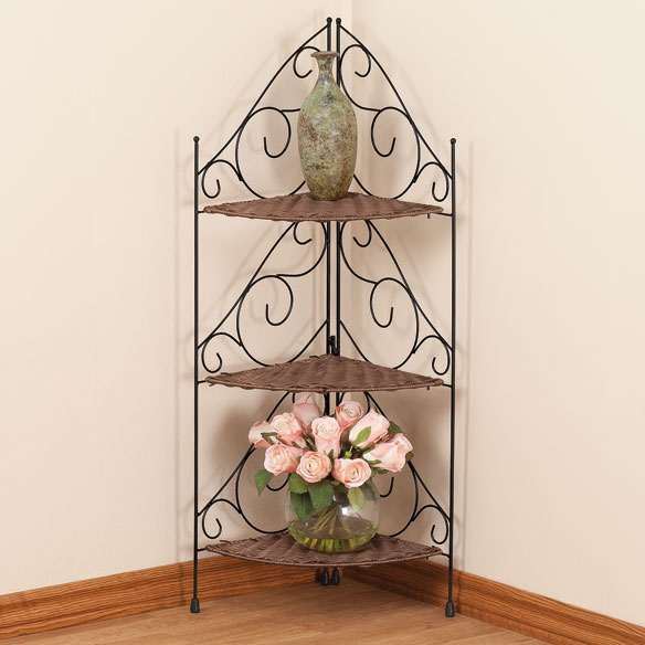 Three Tier Wicker & Metal Corner Shelves by OakRidge™ Accents