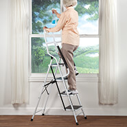 Home Safety & Security - Folding Four Step Ladder with Handrails