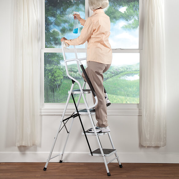 Folding Four Step Ladder with Handrails - View 1