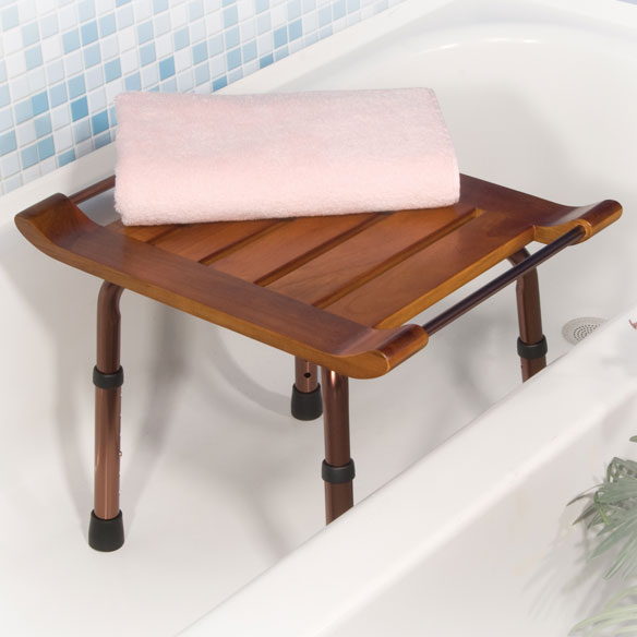 Adjustable Height Teak Bath Bench - View 1