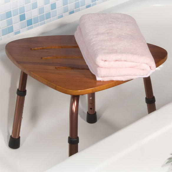 Teak Adjustable Height Shower Stool