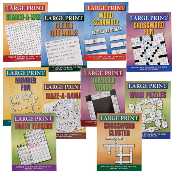 Large Print Puzzle Books, Set of 10